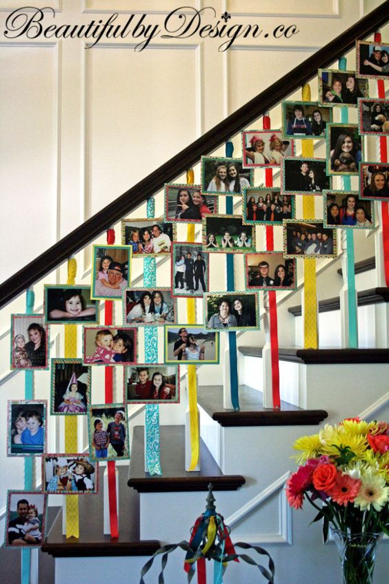 Display Photos on the Staircase as People Come into the Living Room.