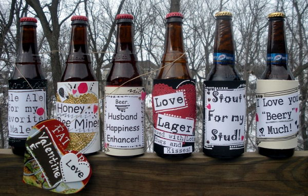 Beer bottles attached with custom love labels
