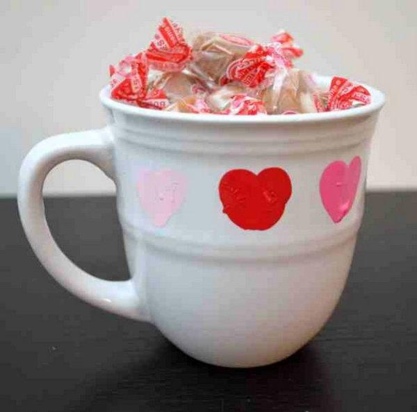 DIY Valentine Mug with Thumbprint Heart