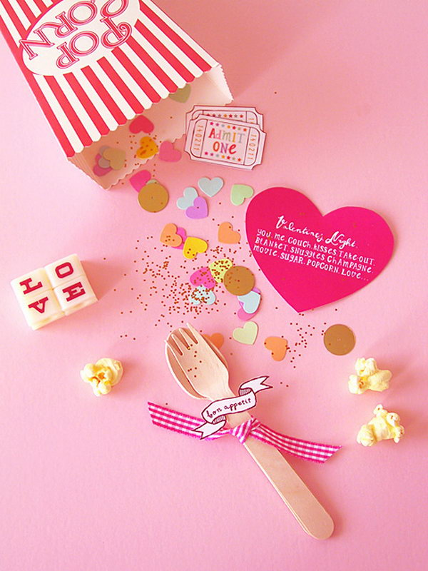DIY Valentine Popcorn Invitation For A Cosy Night