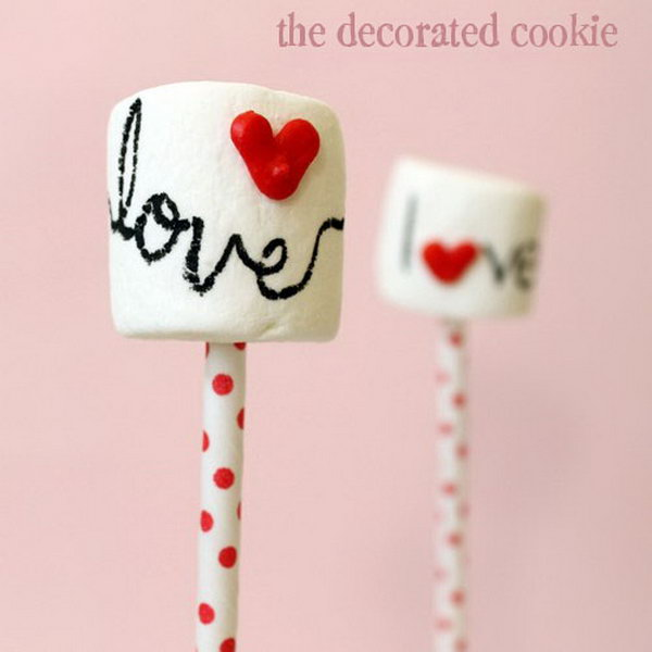 Marshmallow Pops With Heart Sprinkles