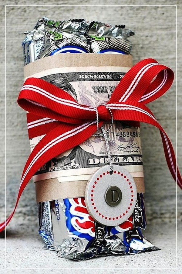 Candy Bar Wrapped with Money Gift.