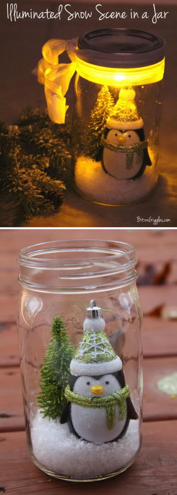Illuminated Mason Jar Snow Globe.