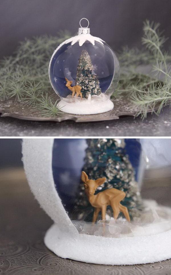 Easy to Make Christmas Snow Globe Ornament.
