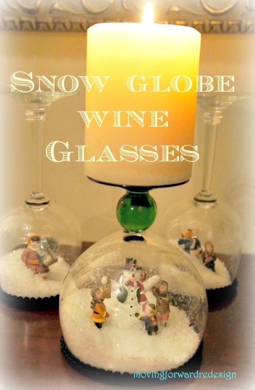 DIY Stemware Snow Globe Candle Holder.
