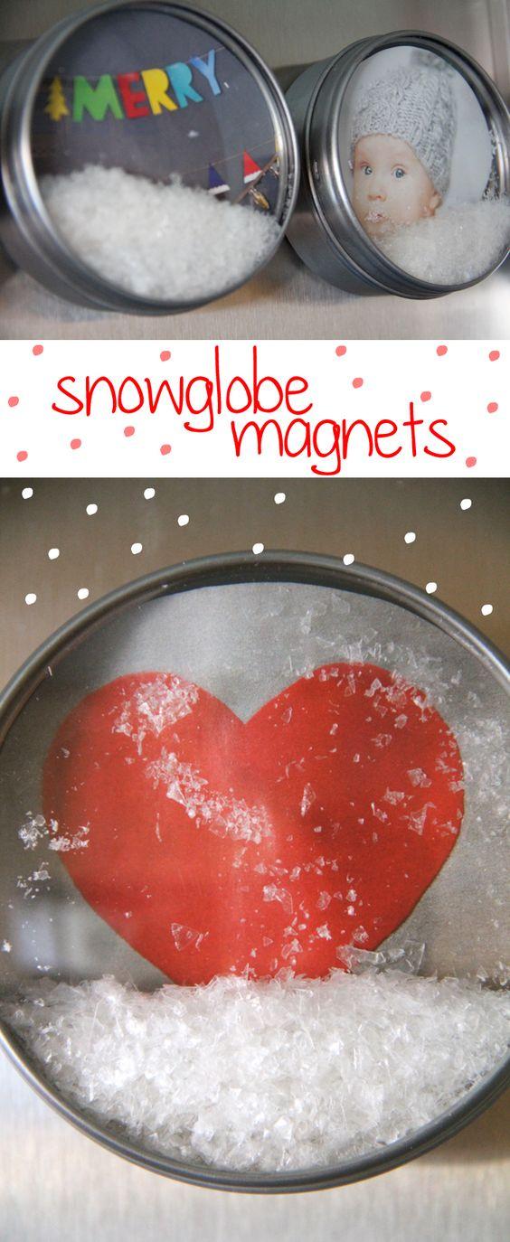 DIY Snow Globe Magnets.
