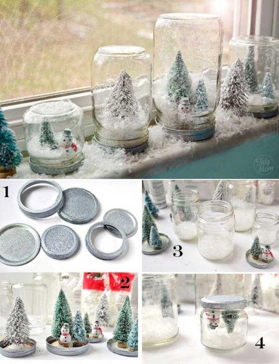 DIY Mason Jar Snow Globes.