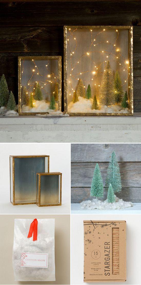 DIY Snow Kissed Forrest Shadow Box.