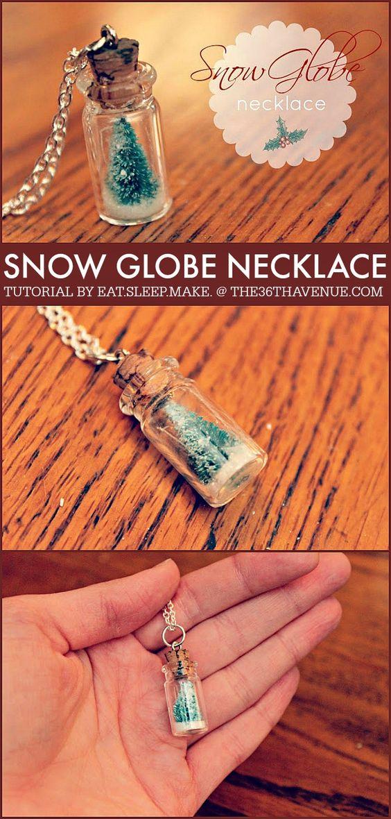 DIY Snow Globe Necklace.