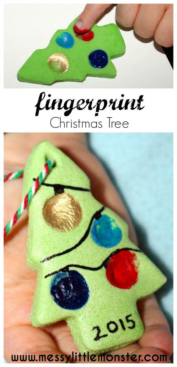 Fingerprint Salt Dough Christmas Tree Ornament, Gift Tag Or Keepsake.