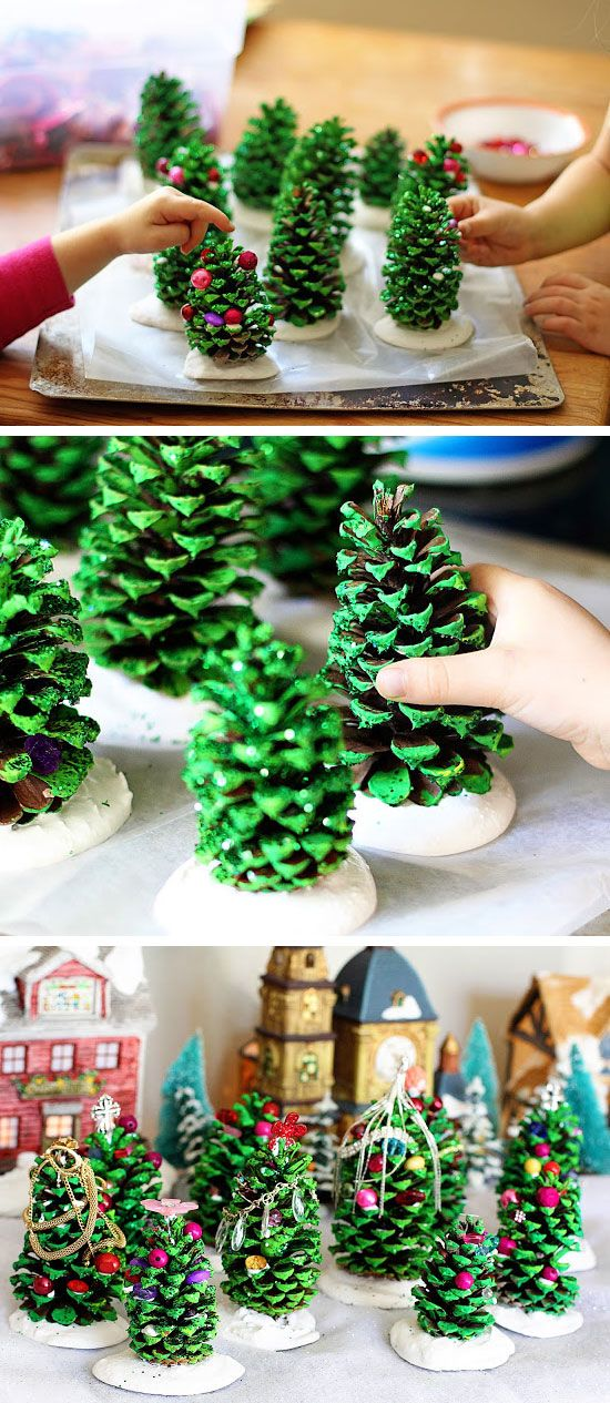 DIY Pine Cone Trees For Kids.