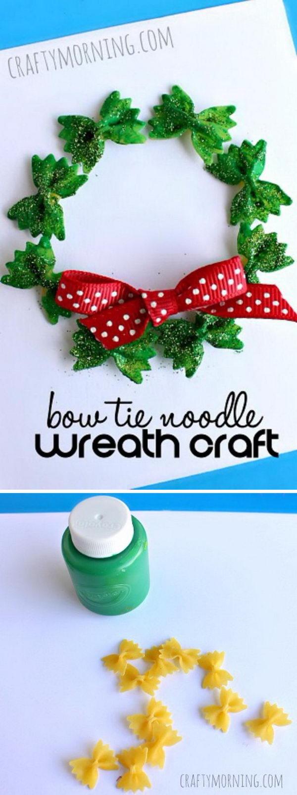 Bow Tie Noodle Wreath Craft.
