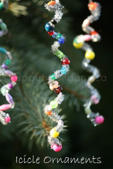 Icicle Ornaments With Beads And Pipecleaners.