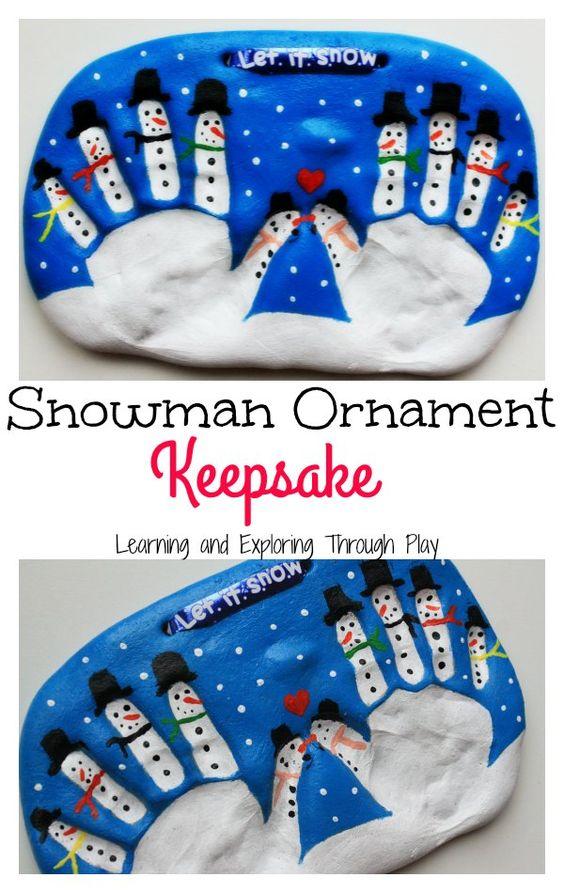 Salt Dough Snowman Keepsake for Kids to Make.