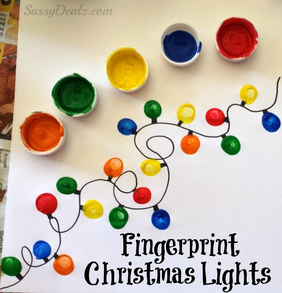 DIY Fingerprint Christmas Tree Light Craft.