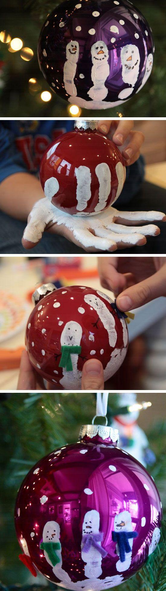 Fingerprint Snowmen Ornaments.