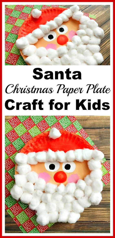 Santa Christmas Cotton Ball And Paper Plate Craft.