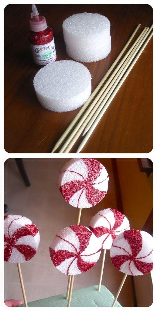 Styrofoam Disk Peppermint Lollipop Decor .
