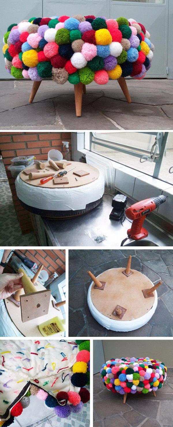 DIY Pom Pom Poof.
