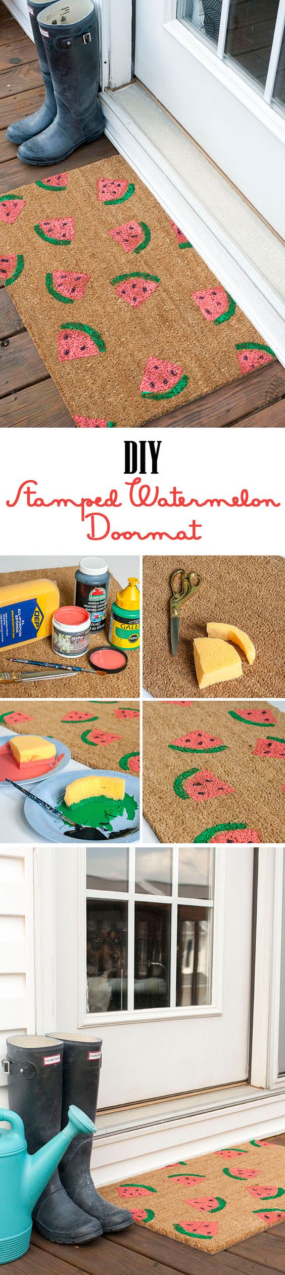 Easy Stamped DIY Watermelon Doormat.