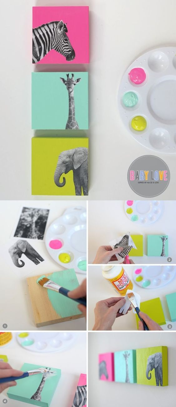 DIY Painted Wood Block Nursery Art.