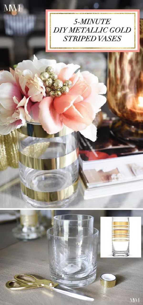 $75.99 Kate Spade Insired Metallic Gold Striped Vases .