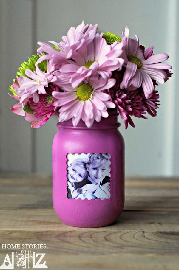 Mason Jar Picture Frame Vase.