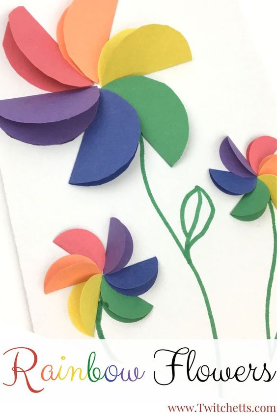 Rainbow Flowers Card Perfect for Mother's Day.