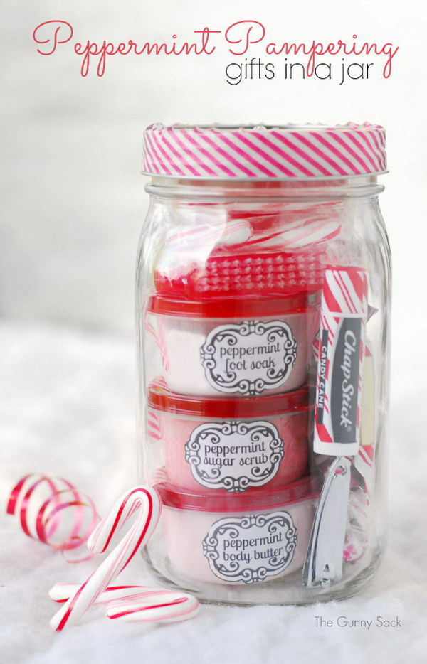 Peppermint Pampering Gifts In Jars20 Heartfelt DIY Gifts For Mom 2017. 35 Easy  DIY Christmas ...