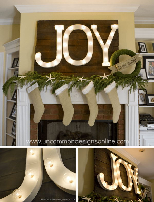 DIY Holiday Mantel Joy Marquee Sign.