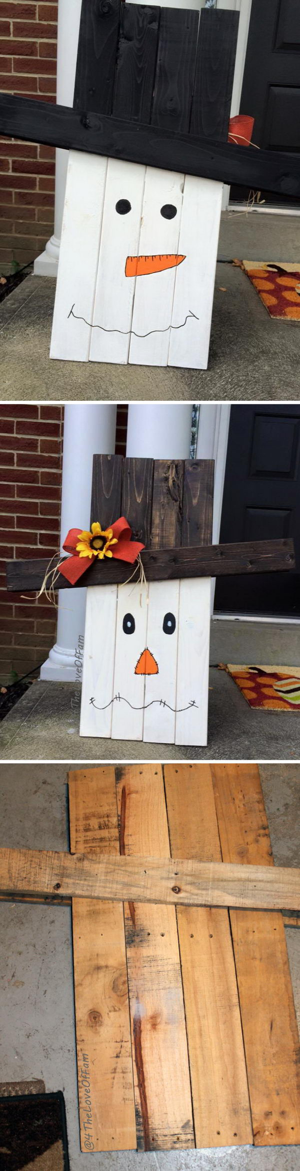 DIY Two Sided Pallet Scarecrow to Snowman Pallet.