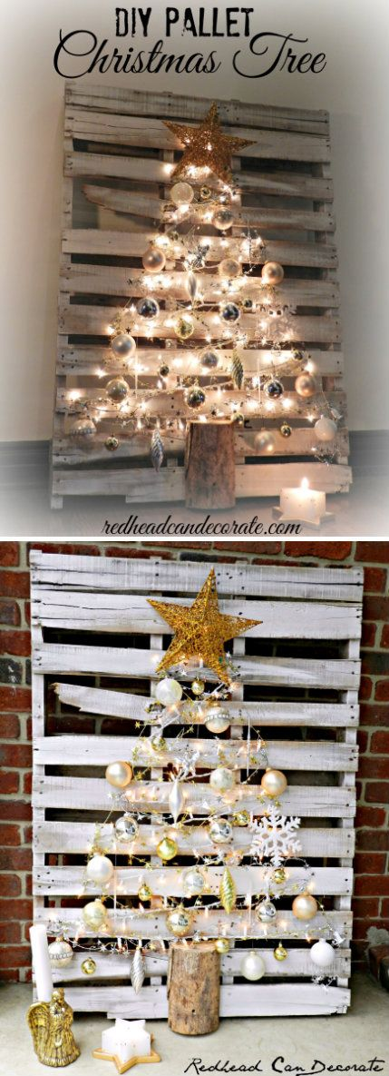 Lighted Pallet Christmas Tree for Under $10.