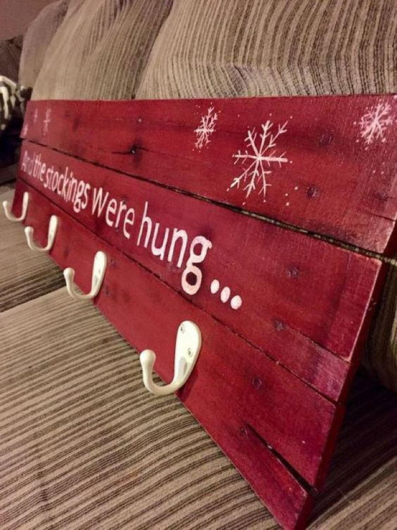 DIY Stocking Hanger Made out of an Old Pallet.