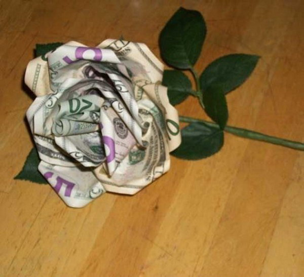Turn Paper Bill into a Money Rose.
