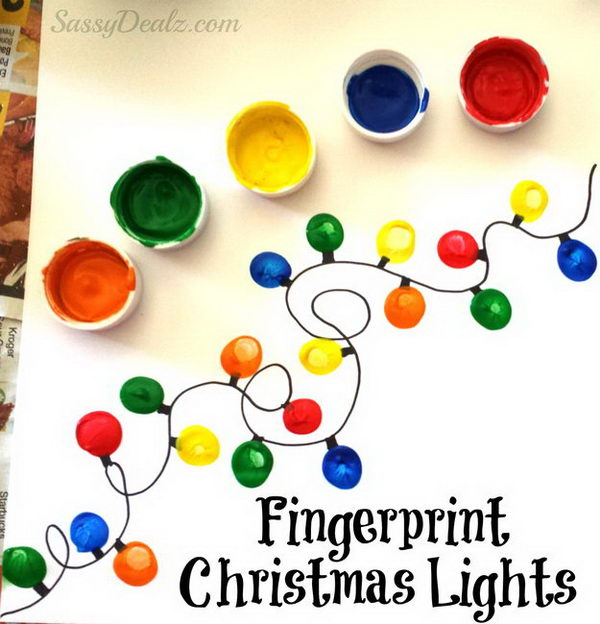 Fingerprint Christmas Light Card.