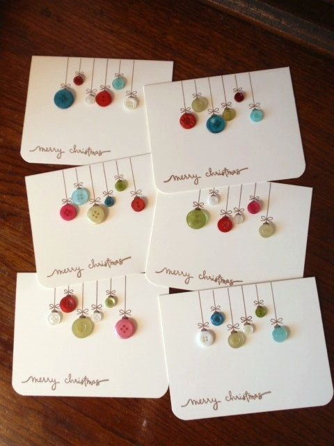 simple button homemade christmas cards - Handmade Christmas Cards Ideas