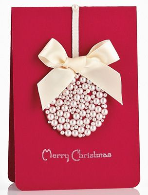 christmas pearl ornament card - Handmade Christmas Cards Ideas
