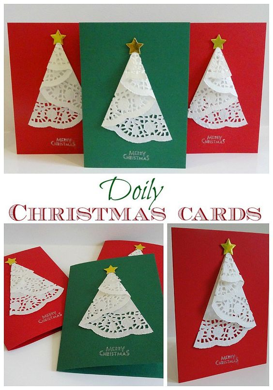 doily christmas tree cards - Christmas Photo Cards Ideas