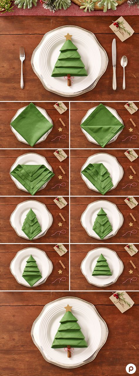 Transform a normal dinner napkin into this cheery Christmas tree for your plate.