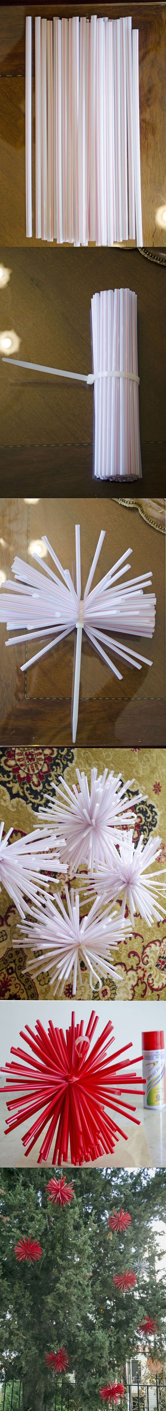 DIY Drinking Straw Christmas Ornaments.