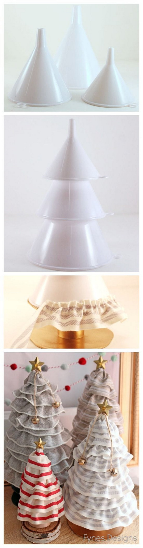 DIY No sew Ruffle Ribbon Christmas Tree Cones.