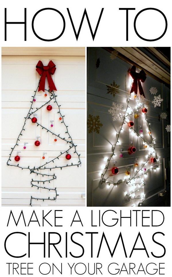 DIY Easy Garage Door Lighted Christmas Tree.