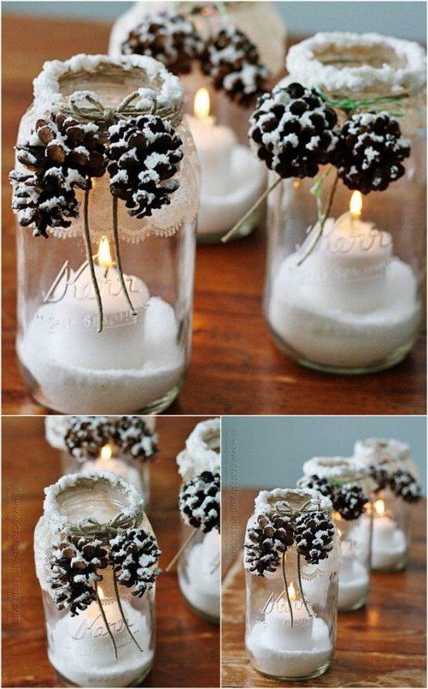 DIY Snowy Pinecone Candle Jar Luminaries.
