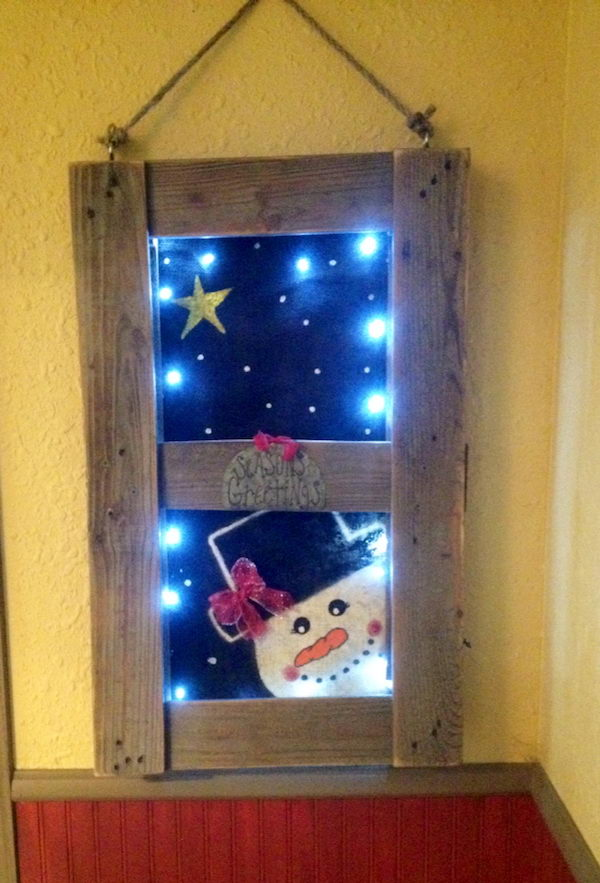 DIY Wood Pallet Snowman Scene Like a Real Window.