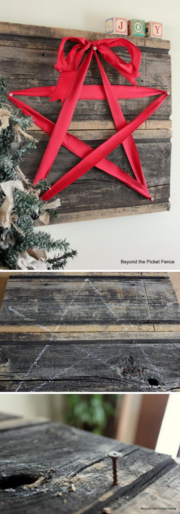 DIY Rustic Christmas Star Decoration With Red Ribbon and Recycled Wood.