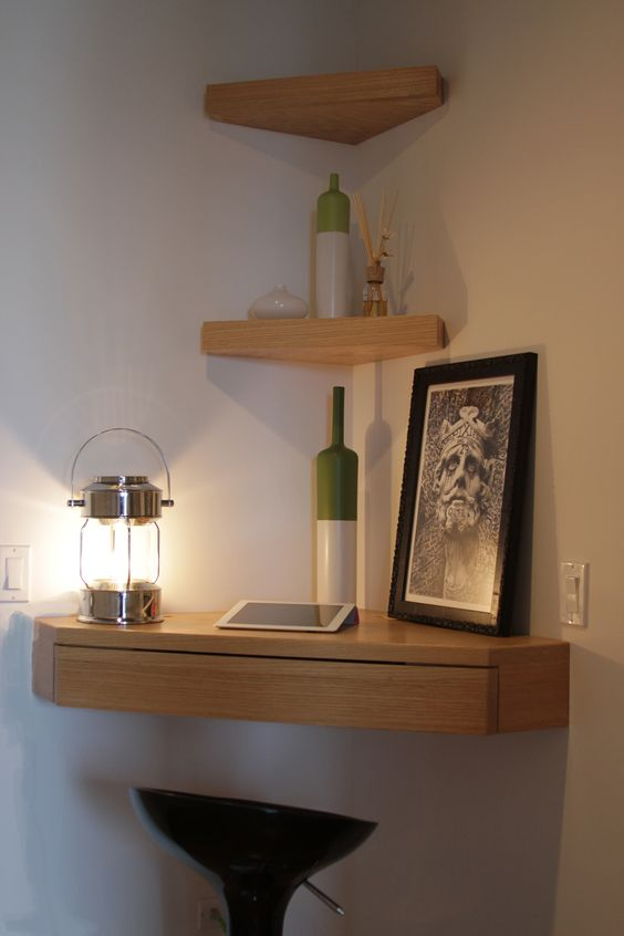 Genial DIY Wood Corner Wall Shelf With Drawer