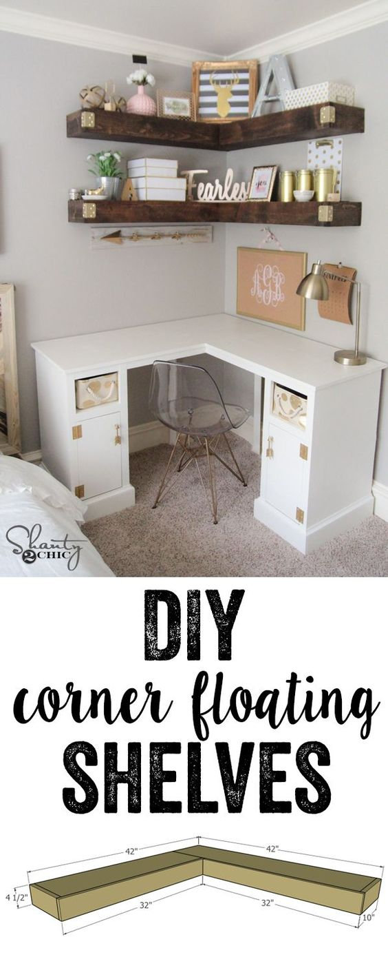 DIY corner Floating Shelves.