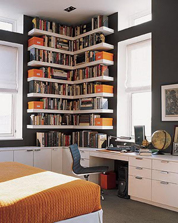 custom corner book shelves - Weird Bookshelves