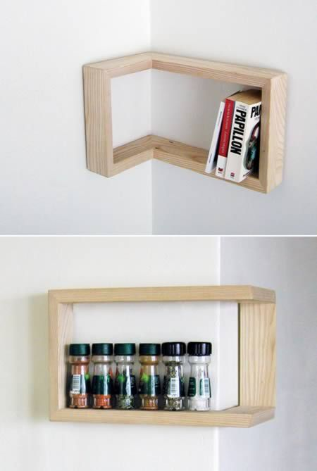 Shelf can be Hung Positive or Negative Depending on Your Corner.