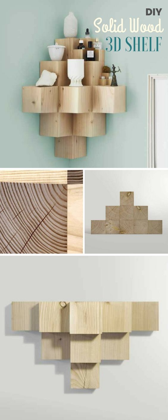 DIY Solid Wood 3D Shelf.